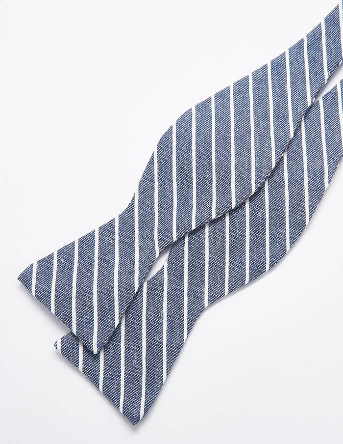 Admiral Row - Charcoal Grey Stripe Bow Tie