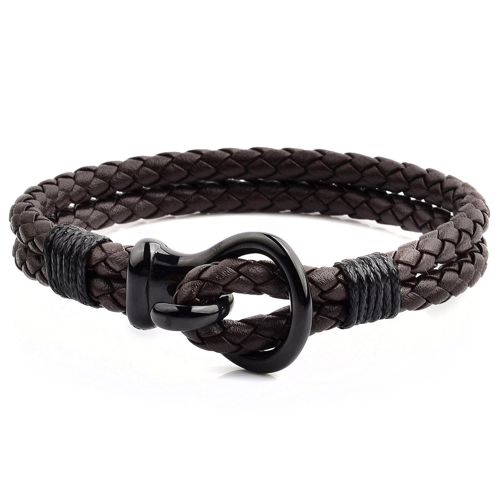 Crucible Men's Polished Hook Clasp Leather Bracelet