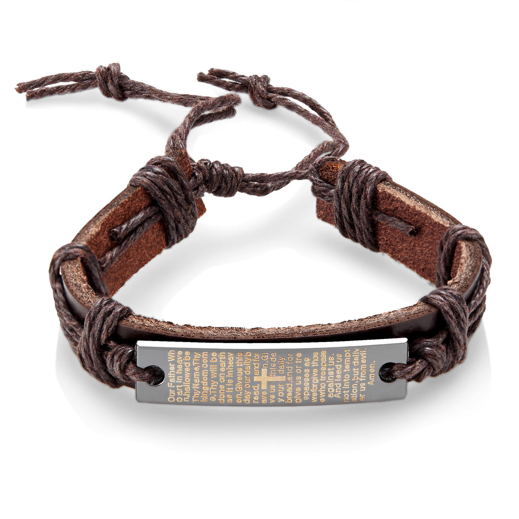 Crucible Men's Leather Lord's Prayer Adjustable Bracelet