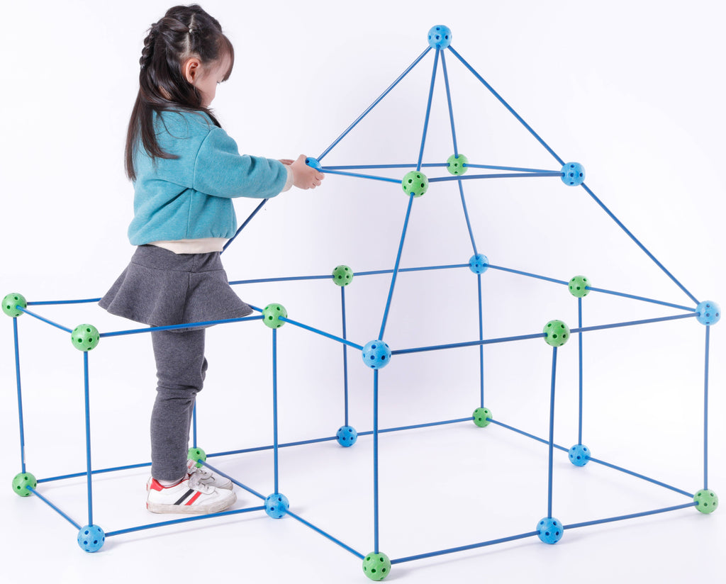 Quickway Imports - Plastic Building Blue and Green Construction Forts game