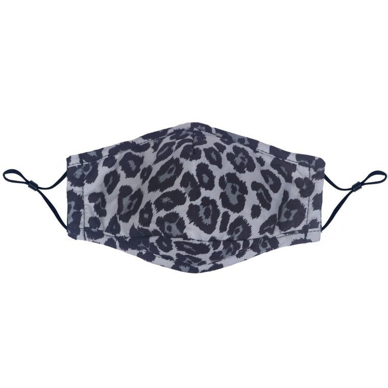 Cotton Face Mask - Grey Leopard w/Filter Slot