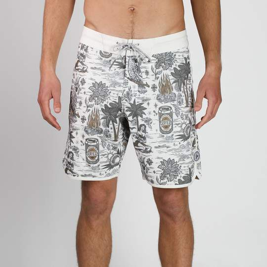 "Seeker Stretch 19"" Mid Boardshort - BONE"