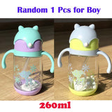 260ml 300ml Anti-drop Plastic Water Bottle with Straw for Children