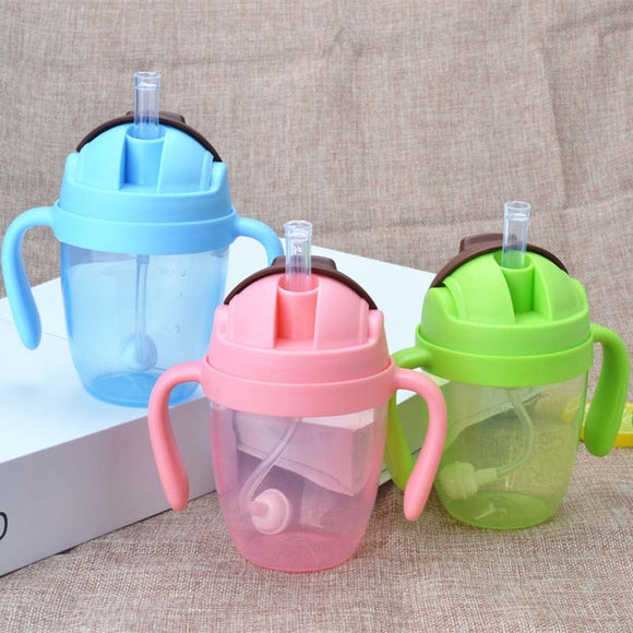 300ml BPA Free Plastic Kids Feed Training Bottle Cute Baby Learn Feeding Water Straw Bottle with Handle Child Drink Baby Bottle