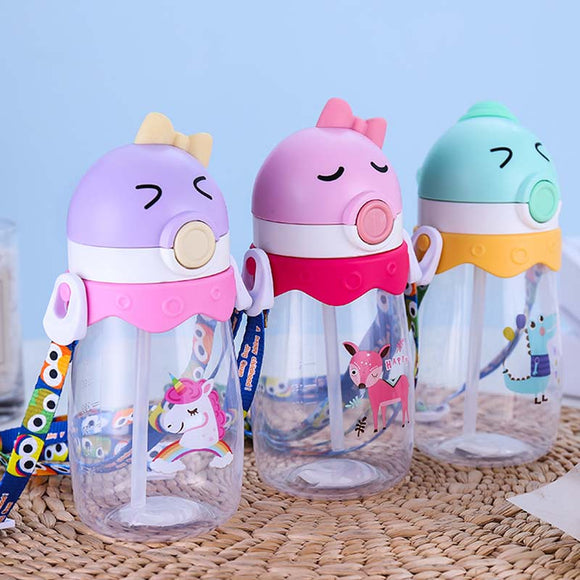 350ml 450ml Plastic Water Bottle with Straw BPA Free Drink Bottle With Rope Creative Cartoon Sport Drinking Bottles Gifts for Kids