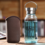 350ml Healthy Glass Bottle With Sleeves Bag Crystal Portable