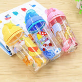400ml Plastic Portable Water Bottles With Straw Cartoon Child Sport