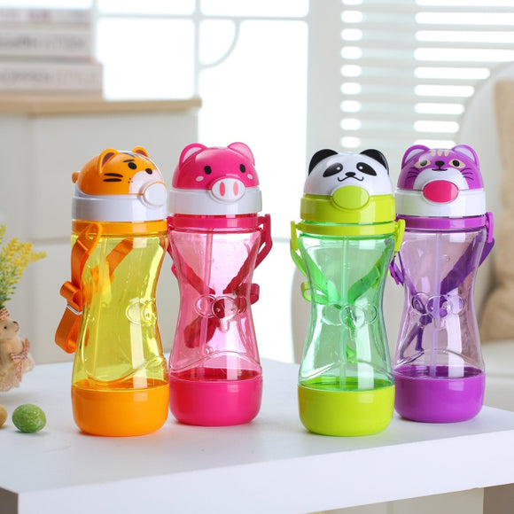 MOLIMORE 450ML Animal Plastic Straw Portable Children Water Bottle Kids Leak-Proof Shaker Fashion Sport Eco-friendly Drink Bottle Gift