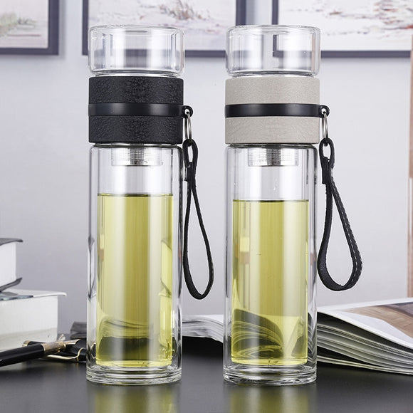 Glass Water bottles for dink tea with infuser 500ml Double Wall Bottle for water brief Portable outdoor ST195