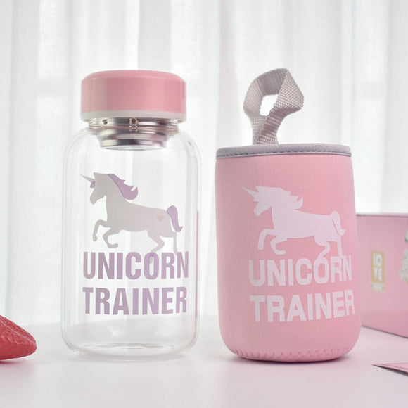 400ml 600ml Cartoon Unicorn Glass Water Bottle with Cloth Protection Cover Tea Infuser Include Bottle for Water Liquid Glass