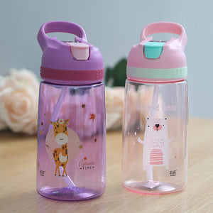MOLIMORE 450ml Kids Water Bottle With Straw BPA Free Children Water Drinking Kettle Healthy Plastic Portable Sports Bottle