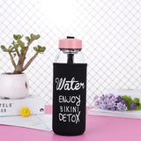 BEEMSk 1pcs outdoor portable water bottles glass Korean creative Water bottle natural fruit tea big fat chubby glas