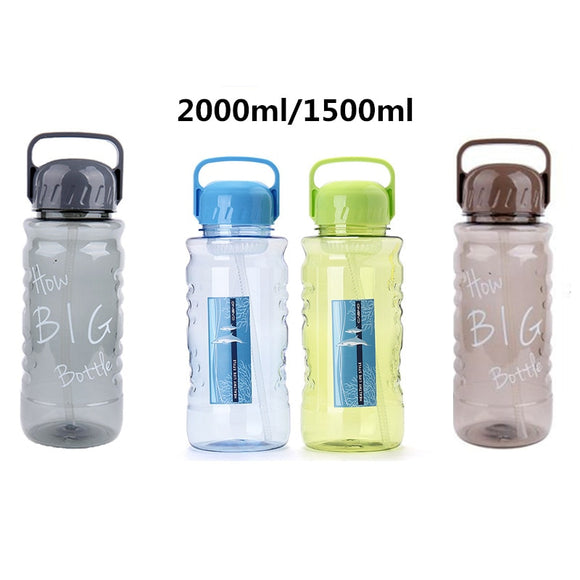 Bpa-Free 1500ml/2000ml Portable Straw Sports Outdoor Water Bottle Large Capacity Travel Camping Kettle with Tea Strainer Handle