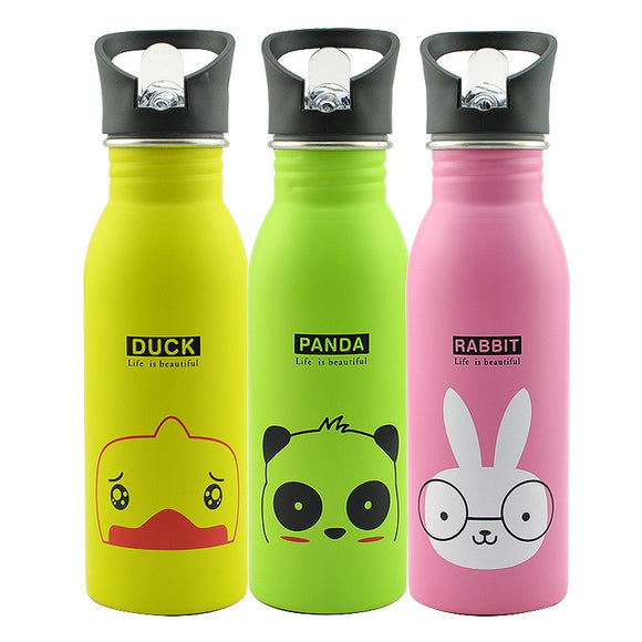 Bpa Free 500ml Sports Outdoor My Straw Water Bottle Stainless steel Cute Animal Pattern Portable Mountaineering buckle Kettle