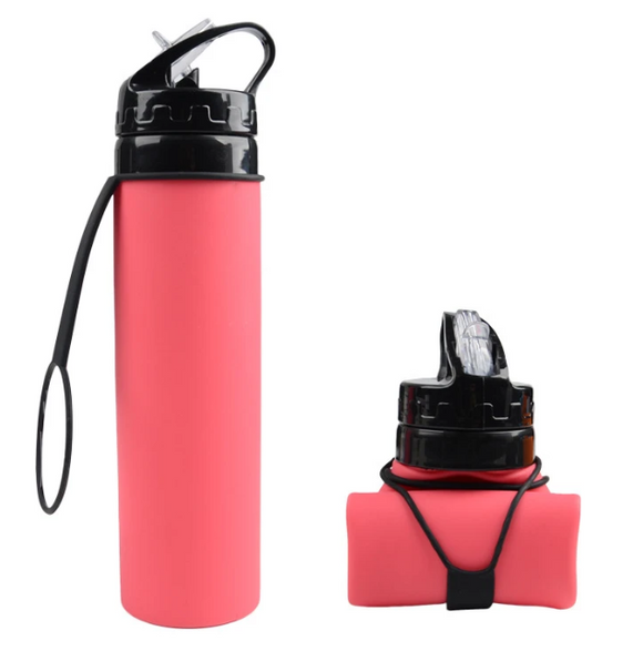 610ML Creative Collapsible Foldable Silicone Drink Sport Water Bottle Camping Travel Outdoors Bicycle Kettle