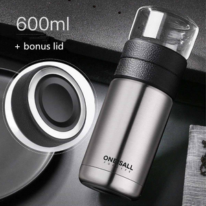 600ml Tea Water Separation Cup Travel Mug Stainless Steel Vacuum Insulated Water Bottle Tea Cups Portable Tea Thermos