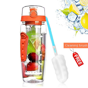 Fruit Infuser Plastic water bottle 1000ml bpa free water+bottles gym bottle reusable Flip Top Lid drinkware travel gift items for adults