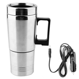 Vehicle Heating Cup 350ML + 150ML Stainless Steel Car Electric Kettle Coffee Tea Thermos Water Heating Cup 12V car water heater
