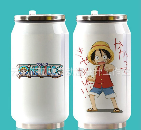 350ml Anime One Piece Cup Around Vacuum Cup Stainless Steel Zip-top Can Water Bottle Insulated Cup