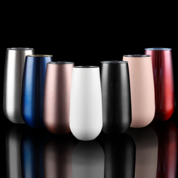 6oz / 177.4ml Stainless Steel Stemless Wine Water Cup Double Wall Vaccum Insulation