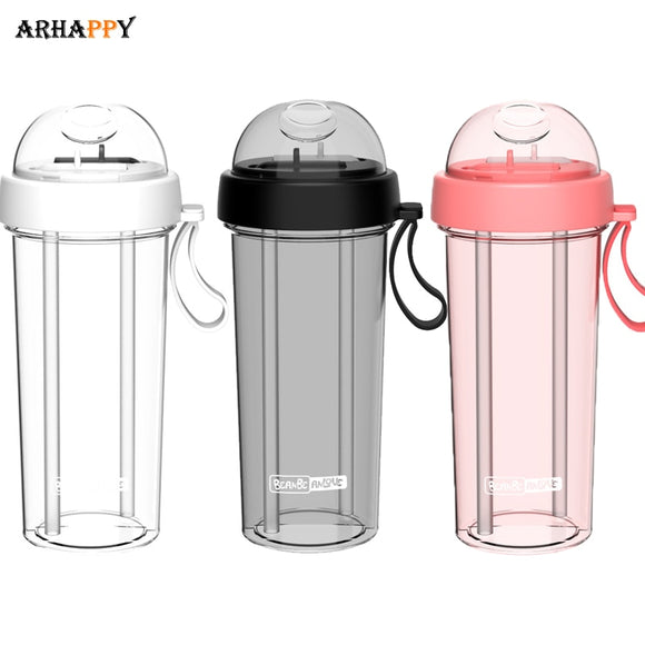 Hot Water Drinking Bottle for Water Bottle with Straw Creative Fitness BPA Free Dual-use Water Bottles Flask for Girl