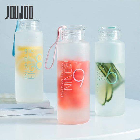 JOUDOO 480ml Frosted Glass Water bottle Healthy Water Container Summer Lemon Water Bottle Drink Bottles Outdoor