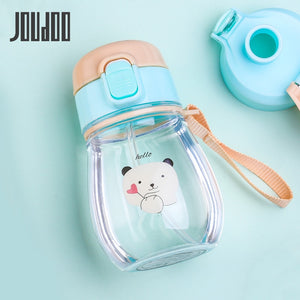JOUDOO 350ml Kids Water Bottle With Straw Rope Portable Bottles for Children BPA Free Plastic Sports Direct Drinking Drinkware