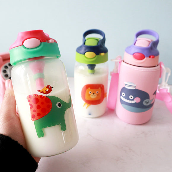 500ml Kids Animals Glass Water Bottle with Straw Bag Strap Carrier Locking Top Lid Leak Proof BPA Free Gilrs Boys Travel Hiking