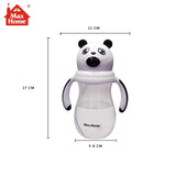 330ml Baby Cute panda Cup Children Learn Training Feeding Drink Water Straw Handle Bottle with one cleaning straw brush