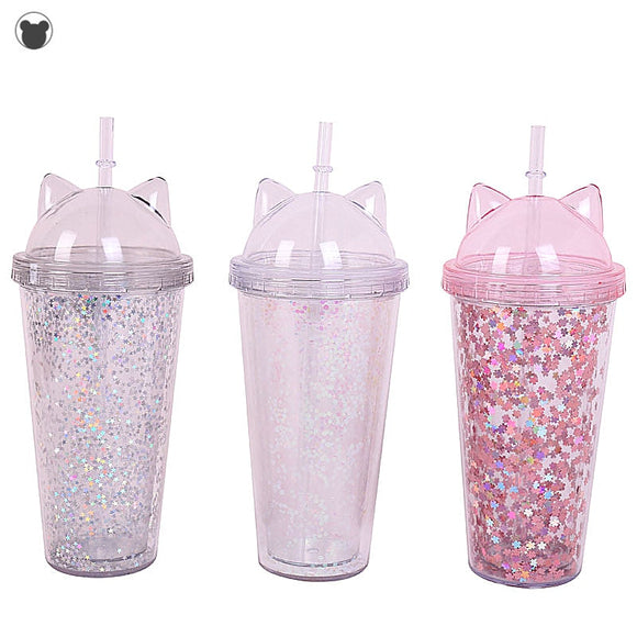 NEW Creative Plastic BPA Free crystal Water Bottle Flash Cat Ear Double layer Drinking Bottle  Water Cup Gift Child Drinkware