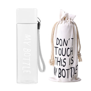 New Square Plastic My bottle 500ml for Water Bottles to drink with Rope Transparent or Frosted Sport Korean style Heat resistant