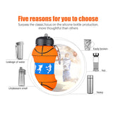 Novelty Basketball Sports Water Bottle With Straw Eco-friendly Silicone Leak Proof Foldable Drinking Portable Drinkware 550 ML