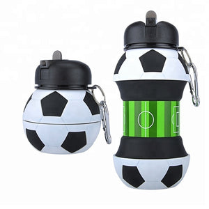 Novelty Football Sports Water Bottle With Straw Eco-friendly Silicone Leak Proof Foldable Drinking Portable Drinkware 550 ML