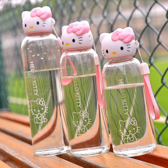 Pink Kitty Sports Water Bottle Cute Lovely Glass Bottle for water for Girls Student with Grip Strap & Cover Drinkware
