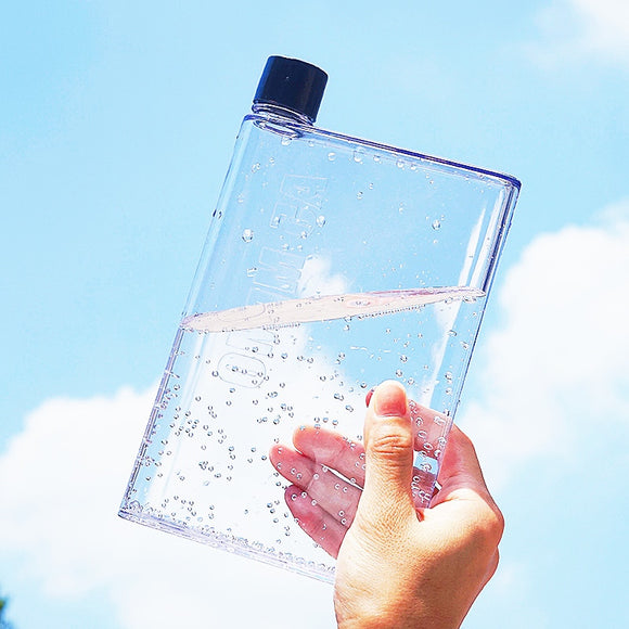 Portable Book Bottle Flat Water Bottle Clear Paper Pad Water Bottle Flat Drinks Kettle Notebook Drink Bottle for Water