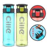 CILLIE Portable Sports Bottle Plastic Flasks Water Bottle - 730ML, BPA Free Leak Proof, For Outdoor Camping Hiking Drinking Tea Juice