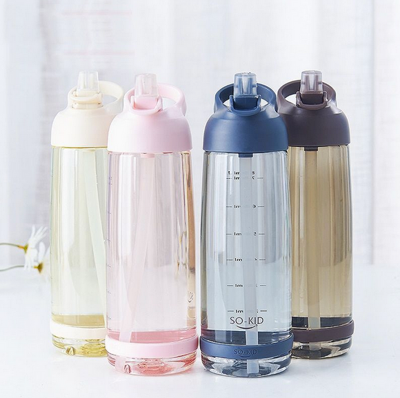 550ml 850ml 1000ml Plastic Water Bottle With Straw Eco-friendly BPA Free Large Capacity Sports Leak Proof Portable Drinkware