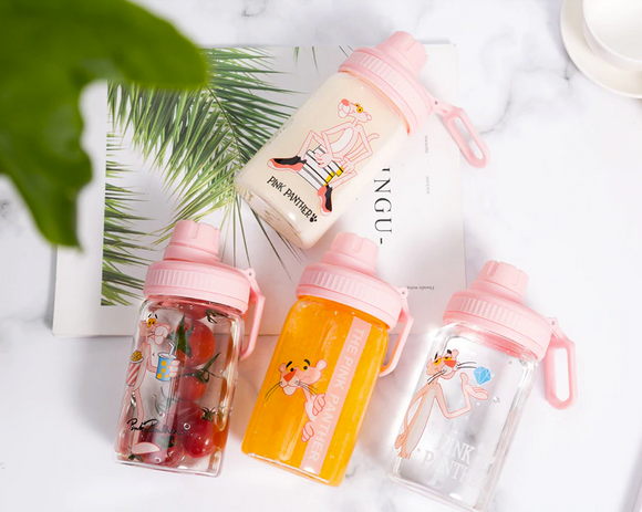 Pink Panther Water Bottle 350ml Cute Portable My Bottle Sport Shaker Squeeze Cartoon Transparent Milk Tea Coffee Glass Bottles