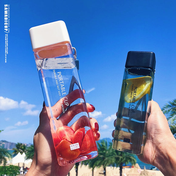 450ml Transparent High Quality Plastic Water Bottles Brief Fruit Infuser Outdoor Portable Camping Hiking Tour Drinking Bottle Water