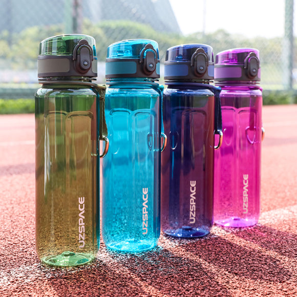 UZSPACE Sport Water Bottle 500/1000ml Portable Leakproof Outdoor Cycling Shaker Fruit Tea Infuse Drink Bottle For Water Plastic BPA Free