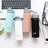 Sports Stainless Steel Vaccum Insulated Water Bottle Mental Thermos with Handle BPA Free Gym Cycling Travel Hot Cold Pink 500ml
