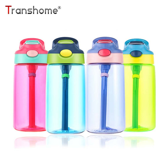 Transhome Kids Water Bottle With Straw 500ml Plastic Water Bottles For Kids Bottles BPA Free Sports Bottle School Drinkware