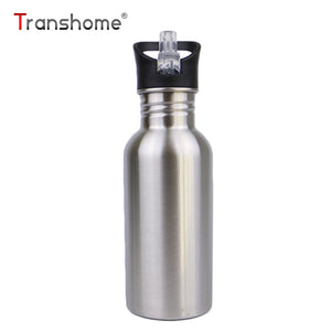 Transhome Stainless Steel Bottle With Straw 750ml Creative Water Bottles For Adult Outdoor Sports Bottle Bpa Free Drinkware
