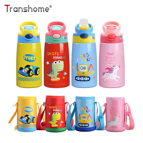 Transhome 380ml Stainless Steel Thermos Bottle For Coffee Thermos Water Bottles For kids Bpa Free Sports Bottle With Straw Thermos Mug