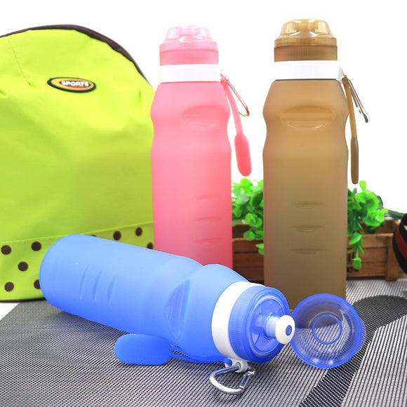 Travel portable folding bike outdoor sports silicone folding water bottle 400ml/600ml