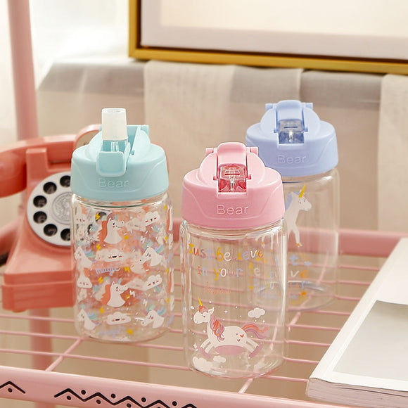 Unicorn Water Bottle 300ml 400ml Portable Glass Water Bottle with Straw for Travel Drink Bottle BPA Free