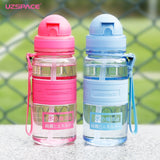 UZSPACE 350ml Kid Water Bottles Straw Portable Child Shaker My Drink Bottle BPA Free Outdoor Sports travel Camping Hiking Kettle