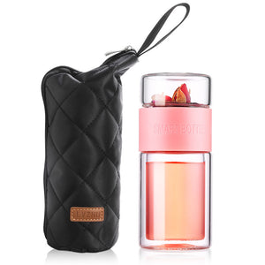 Oneisall 200ml Glass Water Bottle With Bag High Borosilicate Double Tea Water Bottle Infuser Tumbler Drinkware Smart Bottles