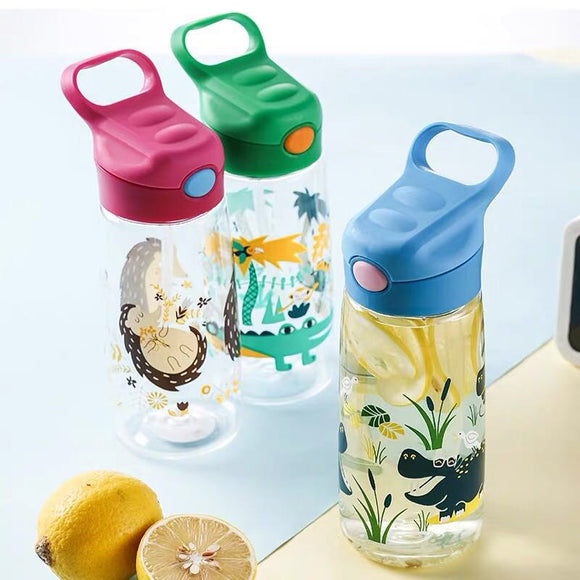 Kids water bottle BPA free with straw baby bottle 500ml free shipping silicone drink eco friendly for baby school children