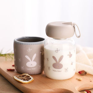 Milk Cup Glass Water Bottle Kids Outdoor Leak-proof Drinkware School Kindergarten Drinking Bottle with Bottle Sleeve